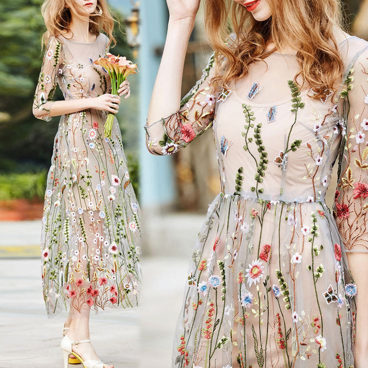 Summer Flower Embroidery Mesh Evening Party Maxi Cocktail Long Dress Beach Dress in Clothes, Shoes & Accessories, Women's Clothing, Dresses eBay!