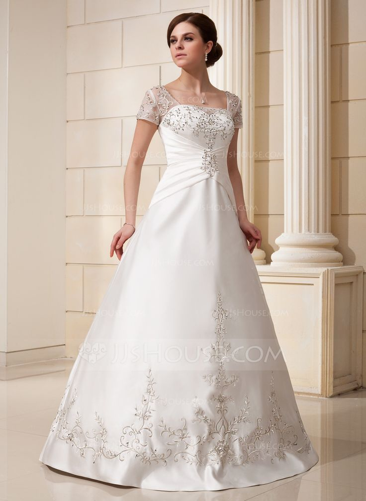 A-Line/Princess Square Neckline Floor-Length Satin Tulle Wedding Dress With Embroidered Ruffle Beading Sequins (002012175) - JJsHouse