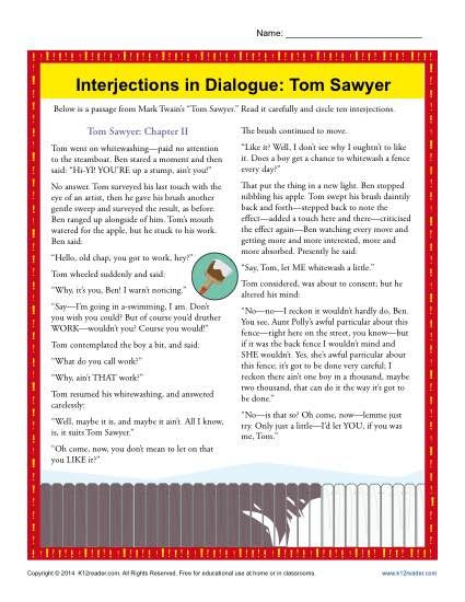 best the adventures of tom sawyer images mark  interjections in dialogue tom sawyer worksheet practice activity mark twain was famous for writing