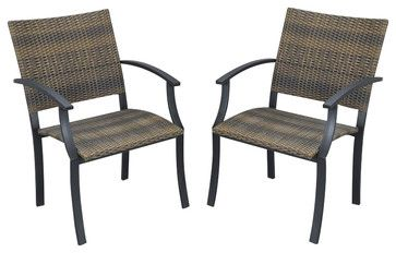 Home Styles Newport Arm Chairs in Black/Brown (Set of 2) - transitional - Outdoor Chairs - Cymax  $311/2