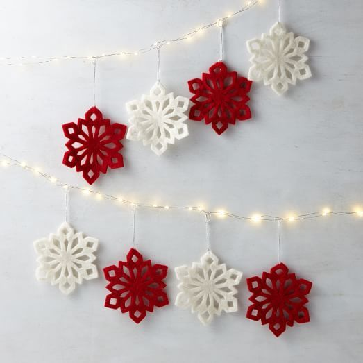 Felt Snowflake Ornaments (Set of 4) (Red or White) | west elm - $9 per set of 4