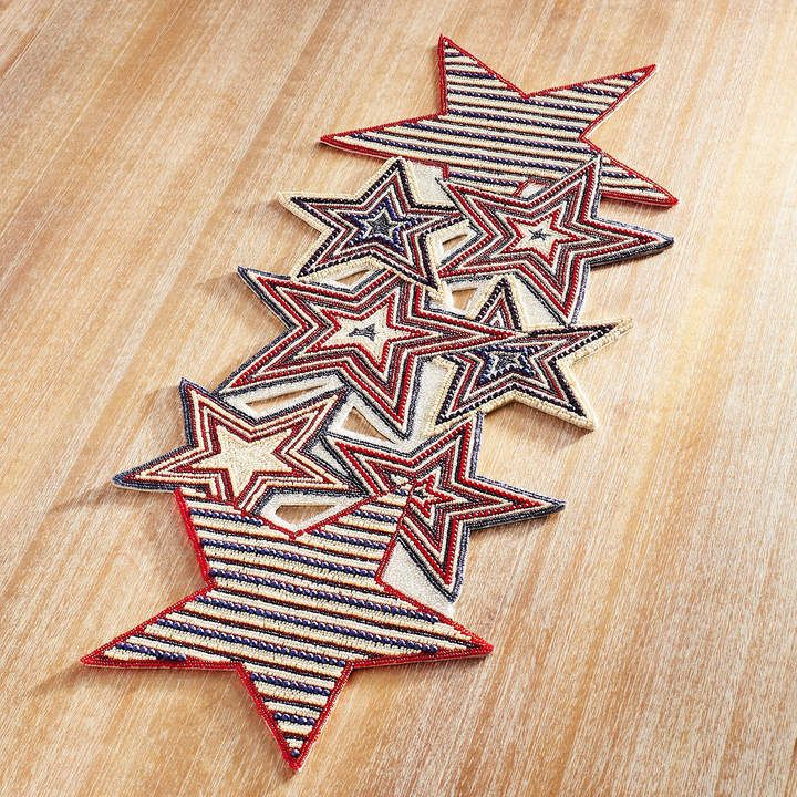 Pier 1 Imports 4th Of July Stars Beaded 37 Table Runner Affiliate Independence Day Decoration 4th Of July Decorations 4th Of July Party