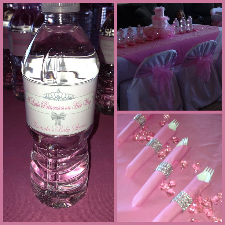 Personalized Water Bottle Label And Bling Napkin Rings! Perfect Touches For Princess  Theme Baby Shower