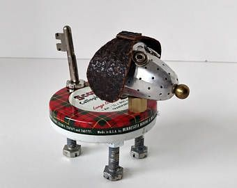 Found Object Robot Dog Assemblage - Steampunk Dog - Scotty Dog - Recycled Upcycled - DogBot -    Edit Listing  - Etsy