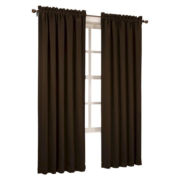 "Seymour Room Darkening Pole Top Curtain Panel Chocolate (Brown) (54""x95"") Sun Zero"