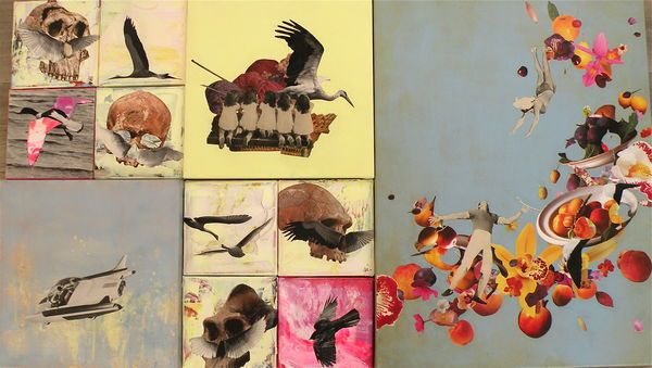 'WINGED 1' 2014 / Framed mosaic of 11 collages; 8 collages of 20 x 20 cm, 2 collages of 40 x 40 cm en 1 collage of 60 x 80 cm. Varnished acrylic and paper collages on canvas, framed in 'caisse américaine'.  WORKS: 60 x 80 - 'Spring is in the Air, 40 x 40 - On a Cloud, 40 x 40 - Waiting for Little Brother 20 x 20 - Winged 1,2,3 and 5 Nose Wings 2,3,4 and 6