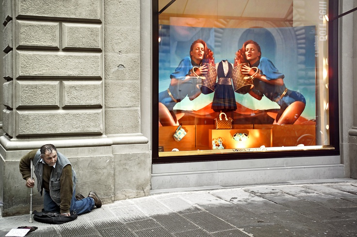 Beggar in Florence. Italy.