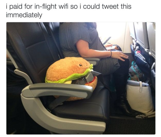 This lady, who made sure her plush burger could fly in comfort.   21 Pictures That Will Restore Your Faith In Love