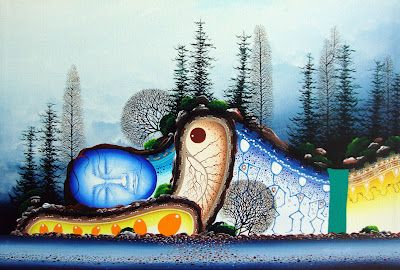 """James Mishibinijima's """"Dreamer's Rock"""". The actual Dreamer's Rock north of Manitoulin Island, Lake Huron, Ontario, is is a sacred site and generally not photographed, so no picture is posted here."""