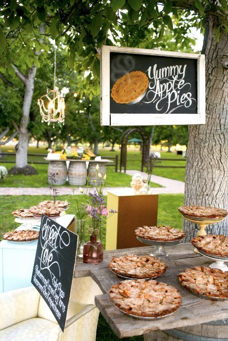 Not a big fan of #wedding #cake? Then have a #pie stand instead! Your guest will love this. Everyone loves pie! #weddings #realweddings #events #realevents #eventplanning #dessert #unique #uniqueweddingideas #decor #dessertbar