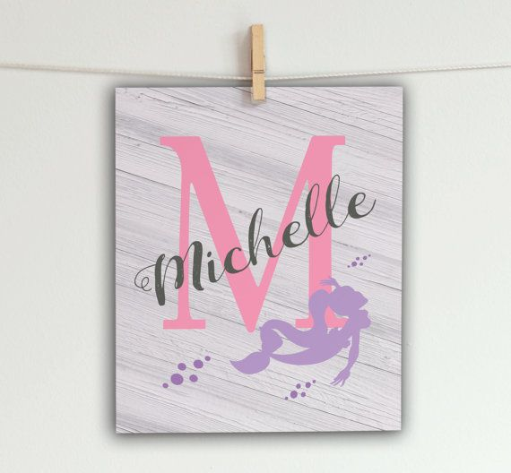 Mermaid Nursery Art  Personalized Baby Name  by SoulStudioPrints