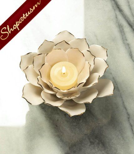 50 Wholesale Candle Holders White Lotus Elegant Centerpieces.  Purchase quality wholesale wedding products for your Special Day at www.shopatusm.com
