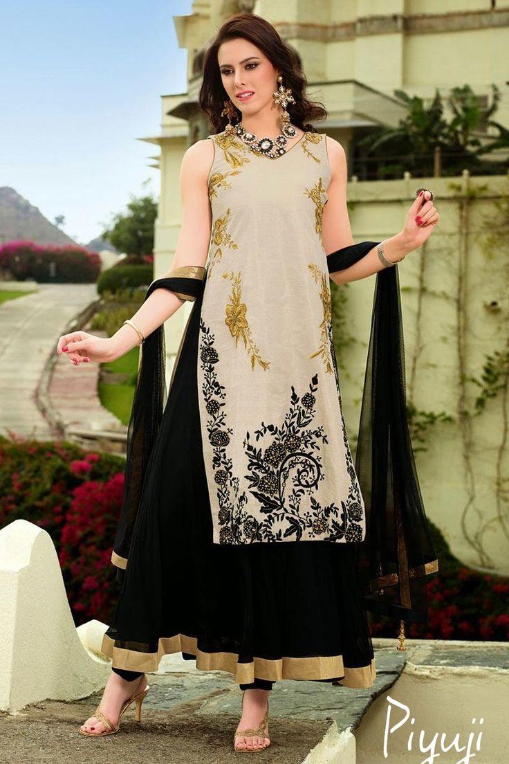 black and white net full length salwar suit