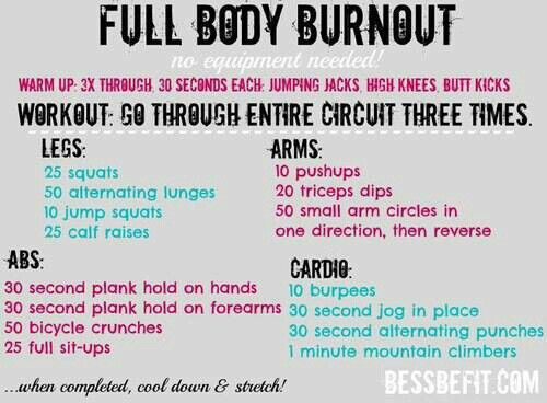 full body workout routine burnout no equipment needed workout sem 30289