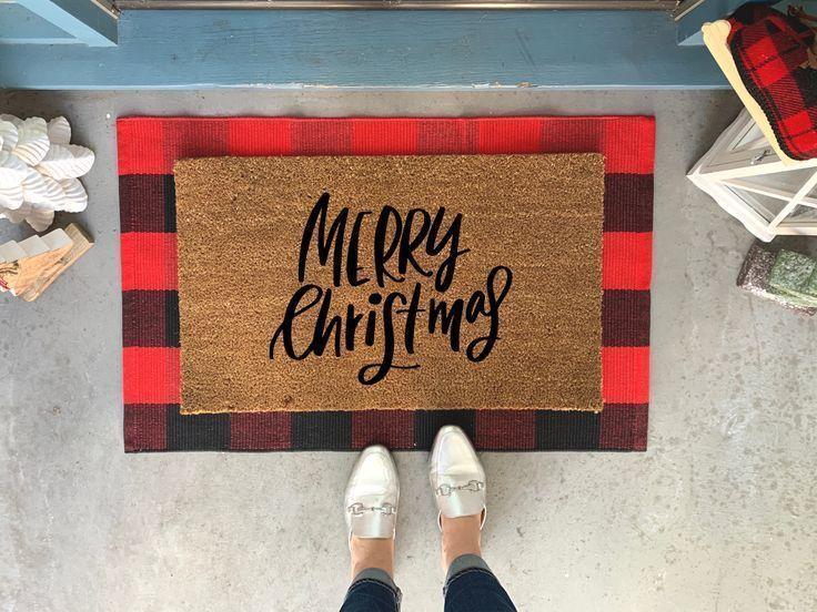 Custom Doormat Christmas D\u00e9cor Merry Christmas Antlers Holiday Gift Welcome Doormat Christmas Gift Holiday Doormat