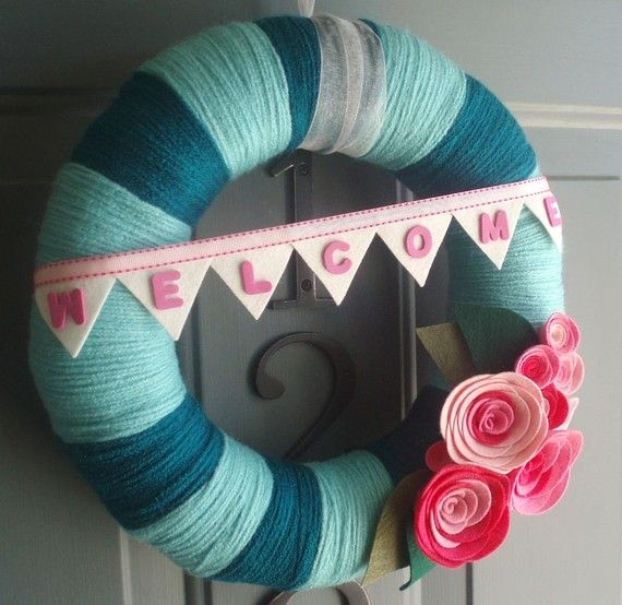 Yarn Wreath Handmade Front Door  Bubblegum 12in. by ItzFitz, $45.00