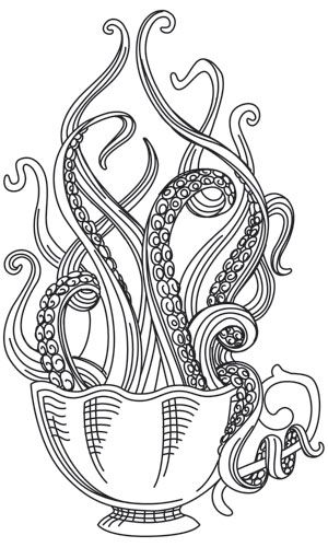 Tentacles peer over the edge of a delicately engraved tea cup. Stitch onto tea towels, home decor, and more! Downloads as a PDF. Use pattern transfer paper to trace design for hand-stitching.