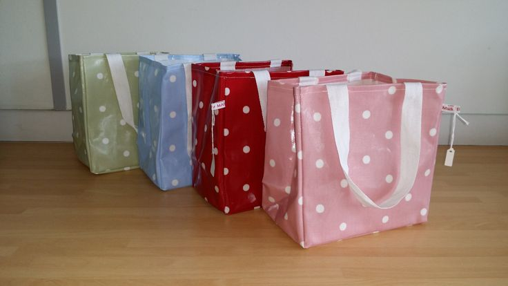 Dotty Lunch Bag - oil cloth, wipe clean by MadeByMAP on Etsy