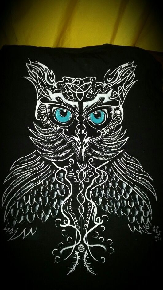 White on black owl