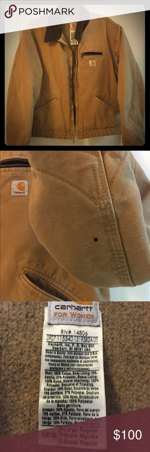 Women's XL Carhartt Coat USED Women's Carhartt Coat. Small ink stain on one sleeve and two oil stains on the back. See photos. No holes or missing zippers or buttons. Broken in but has lots of life left. Carhartt Jackets & Coats Utility Jackets