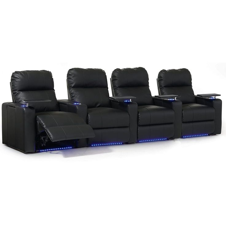Octane Turbo XL700 Straight/ Manual Recline/ Black Bonded Leather Home Theater Seating (Row of 4) (Row of 4
