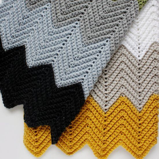 Easy crochet chevron blanket worked in the back loops only to create an awesome ridged look and unique texture. Perfect for beginners!