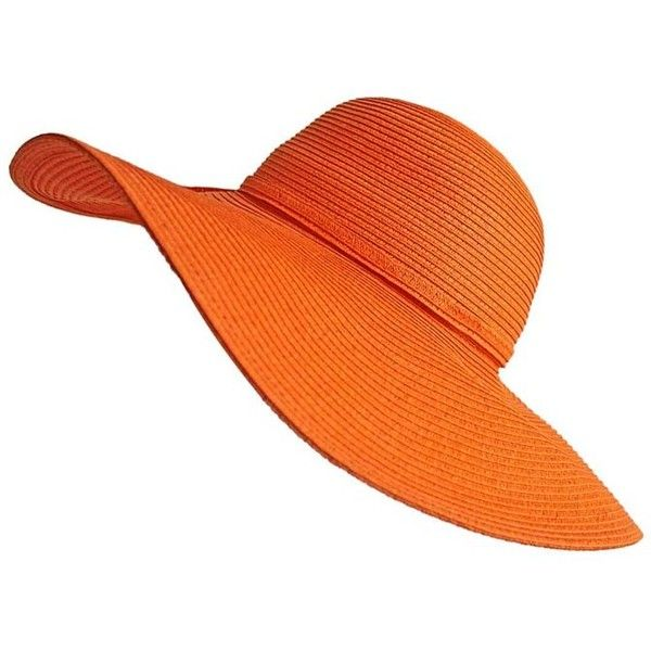 Bright Orange Vibrant Wide Brim Beach Floppy Hat ($29) ❤ liked on Polyvore featuring accessories, hats, orange, floppy brim hat, neon hat, wide brim hat, paper hats and floppy hat