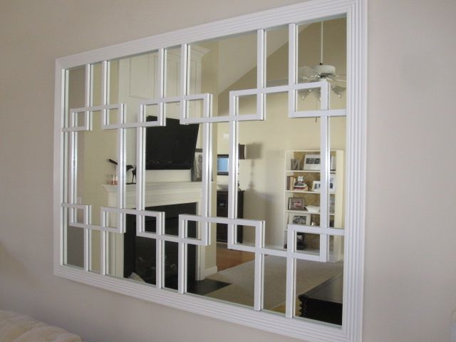 DIY trellis mirror -- I could tear off the trim of the old dresser mirrors I have and use the mirror part for something like this