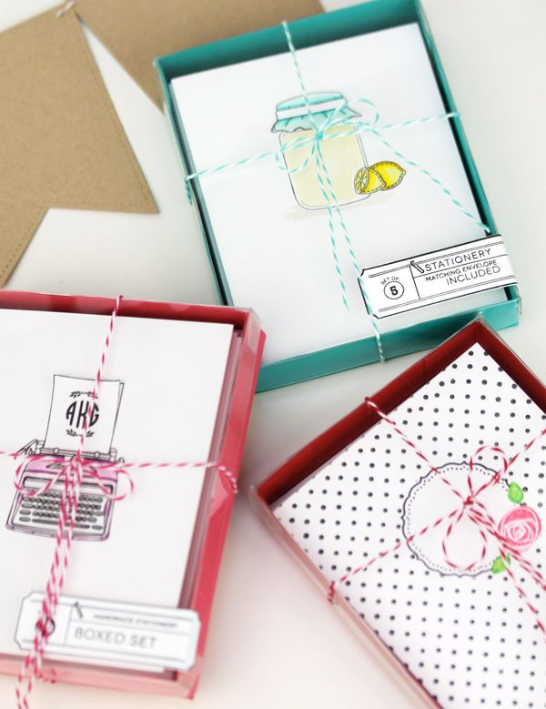 Craft Fair Inspiration | Damask Love Blog | Stationery Sets Love the labels on the homemade gift boxes!