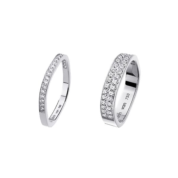 square wedding band white gold and diamonds and only available in dinh van stores - Wedding Ring Stores
