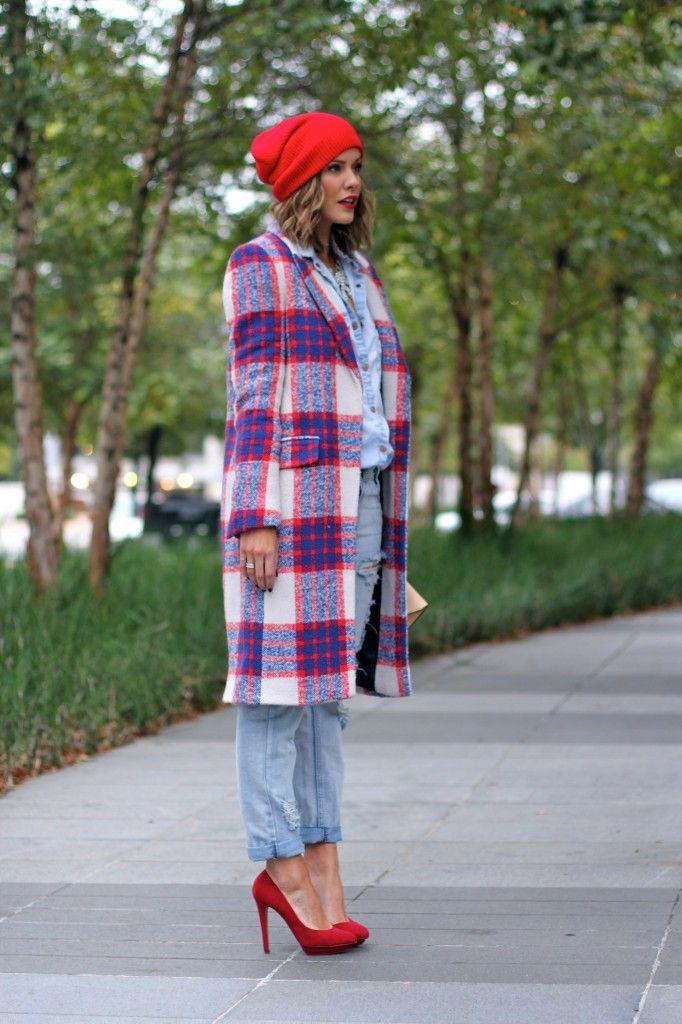Plaid coat, beanie and heels: http://www.zara.com/us/en/woman/coats/coats/checked-coat-c499001p1576547.html