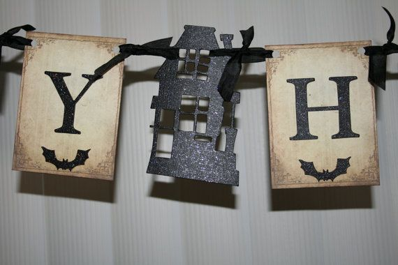 Happy Halloween banner / garland with Haunted by creationsbyminda, $14.00