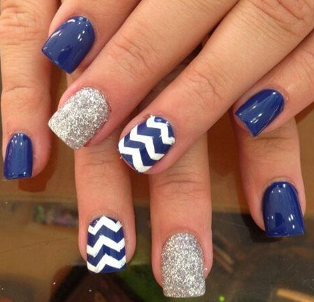 Dark Blue Chevron Pattern with Glittery Nail Arts