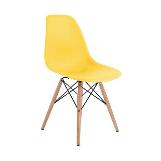 DSW Eiffel Esszimmerstuhl (Eames-Design), hochwertig, verschiedene Farben Modern gelb