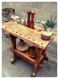 "This is an amazing Repurposed Industrial Workbench... Originally made in the 1940's by my grandfather, a master craftsman, Frederick Zangbell. We love the worn in totally authentic look to this piece. A real beauty.  This can be used as a kitchen island, sideboard bar or hallway console. We lightly resored and wax this piece so as not to ruin it's lovely integrity.  It measures 36"" long x 33"" high x 19"" deep.  Contact us to arrange a viewing appointment and to checkout our showroom!  Large…"