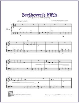 Beethoven's Fifth | Easy Digital Print Piano Sheet Music - http://makingmusicfun.net/htm/f_printit_free_printable_sheet_music/beethoven-fifth-easy-piano.htm