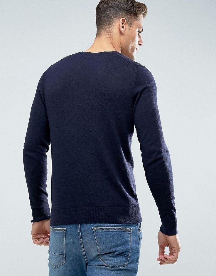 Abercrombie & Fitch V-Neck Sweater Fine Gauge Logo in Navy - Navy