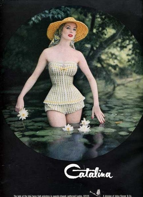 Suzy Parker in swimwear for Catalina, 1955.
