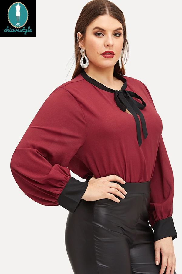Plus size New Casual Women Loose Bow Chiffon Long Sleeve Shirts 1