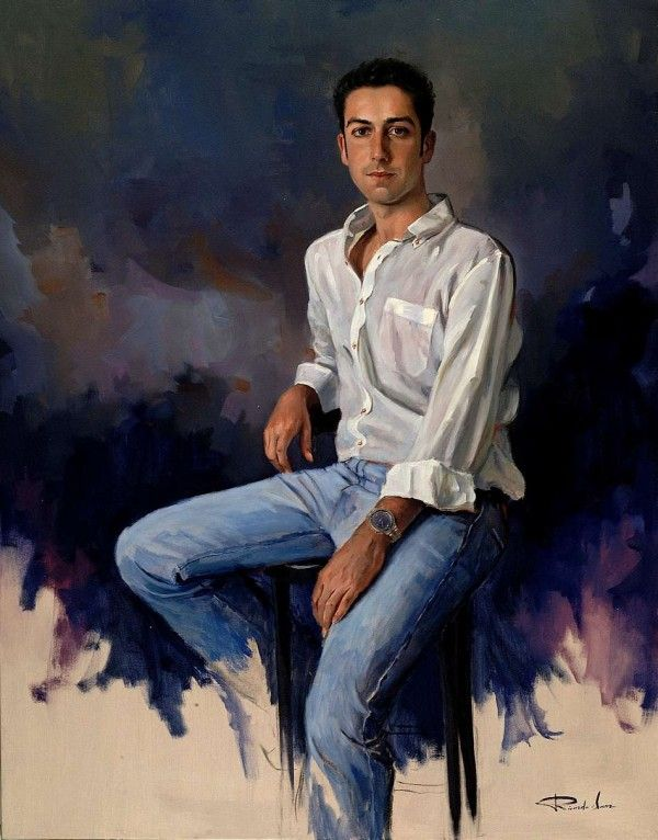 -Chico-joven-vaqueros-camisa-blanca1 - Paintings by Ricardo Sanz  <3 <3