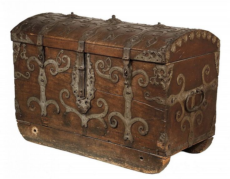 "17TH C GERMAN IRONBOUND TRUNK - Large Dome Top Trunk in Oak with ornate forged ironwork, dated in the iron ""Anno 1691"", with the original hinges and hasps, large drop handles on sides, with sledge runners drilled to tie down. 30"" x 42"" x 22"". Good condition, with loss only to the lower scrollwork of the iron."