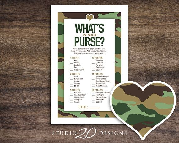 """Instant Download Green Camo Baby Shower Game by Studio20Designs. Camo What's in Your Purse game. This printable Camouflage Baby Shower Game comes 2-up on an 8.5""""x11"""" sheet for easy printing. Guests place a check beside each item they have in their purse. Whoever has the most total points at the end wins!"""