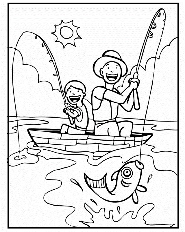 Together With Dad Fishing Fathers Day Coloring Picture For Kids