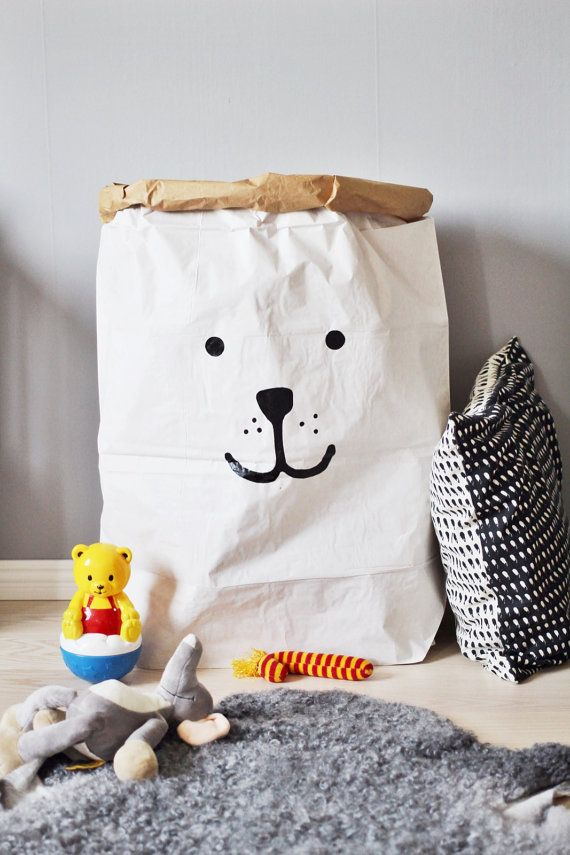 Bear paper bag storage of toys books or teddy bears by Tellkiddo