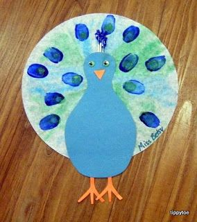 Tippytoe Crafts: Peacocks...watercolor on coffee filter with thumbprints