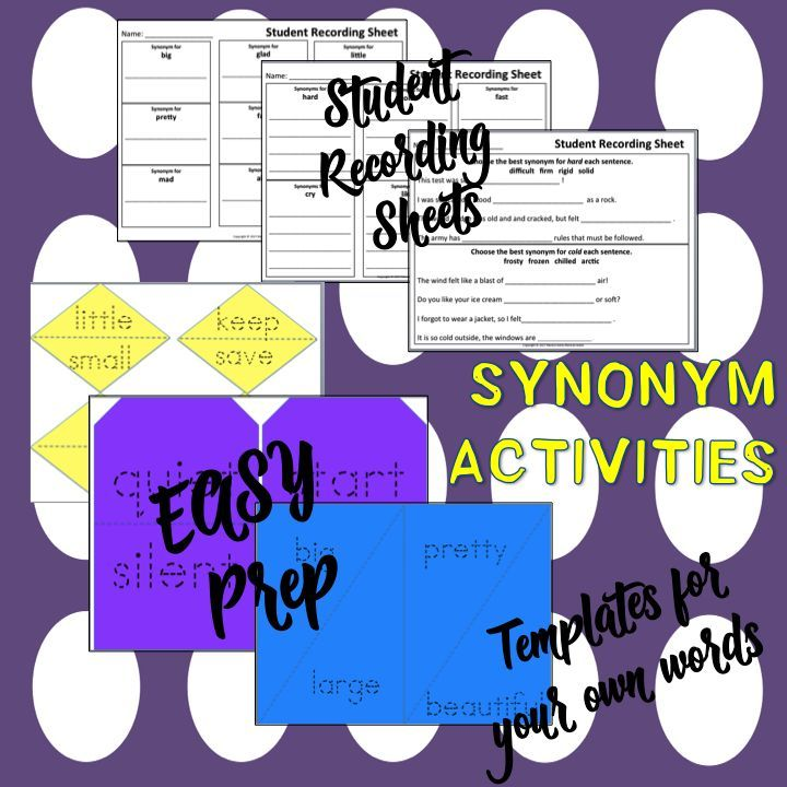 ELEMENTARY TEACHERS - SYNONYMS, ACTIVITIES, ANTONYMS. Easy Peasy Synonyms! Matching Activities, Student Response Sheets, Blank Templates to add your own words. Practice understanding of words by relating them to words with similar meanings.CCSS K-4th Individual Practice, Center Activity.