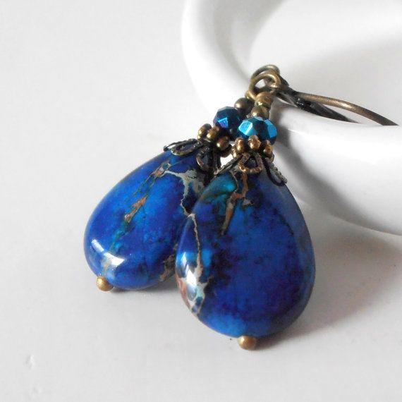 Royal Blue Stone Teardrop Earrings Aqua Terra Jasper Vintage Style Dangle Earrings Semi Precious Bead Dangles Blue Bead Earrings Handmade on Etsy, $17.00