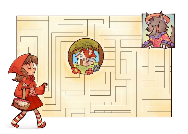 """""""Little Red Riding Hood"""" page from a fairy tale themed activity book."""
