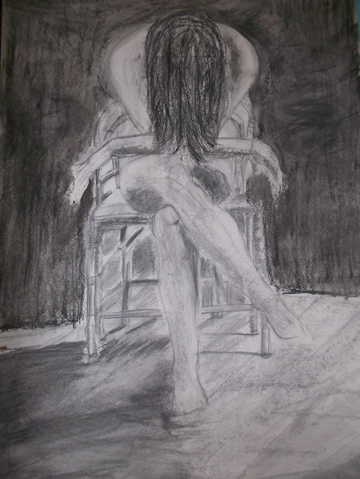 Sketch planning of woman contemplating her life painting