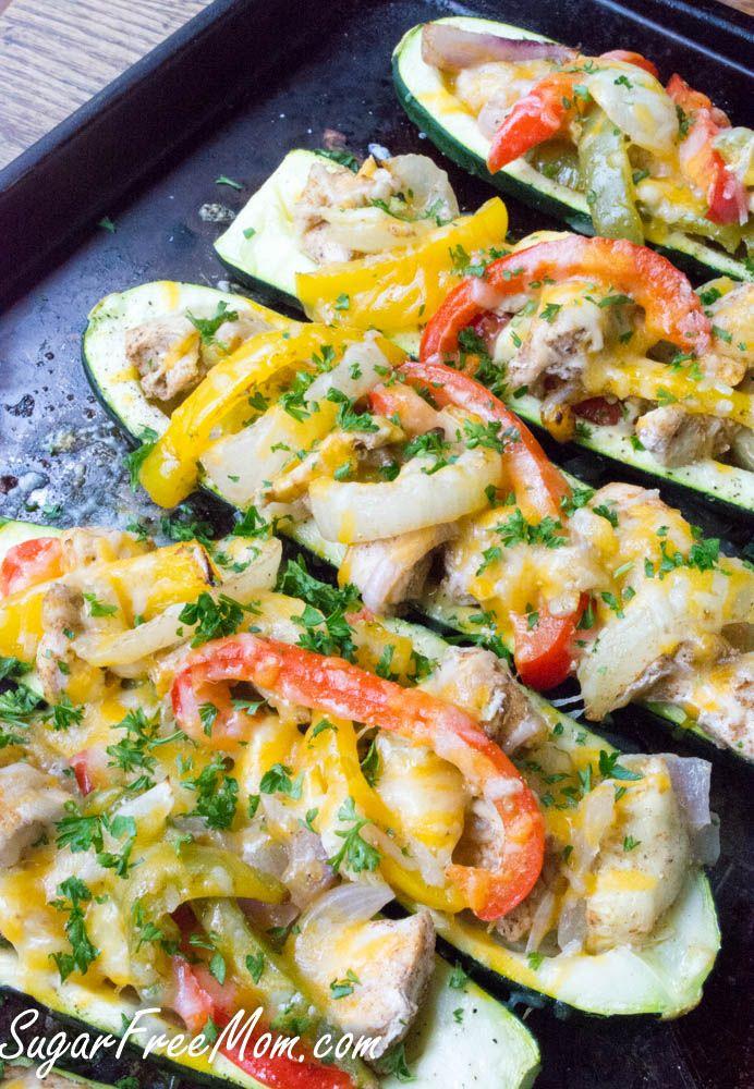 Easy Chicken Fajita stuffed zucchini-low carb, gluten free- sugarfreemom.com